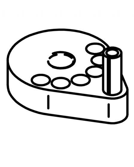 Plate med pinne for justerbart håndtak