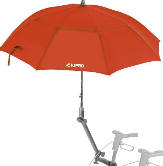 Paraply / parasoll, rød, med festearm