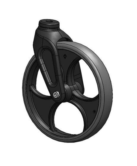 Framhjul med svart gaffel